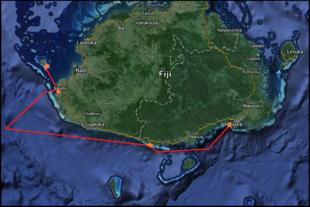 Map: from Suva to Malolo Lailai, with out stops