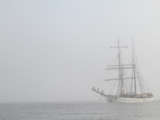 Departing Newcastle. This old schooner appeared out of the fog.